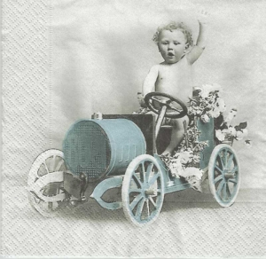 Serwetka do decoupage Boy in Car